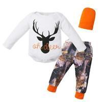 3pcs Baby Clothing Set Newborn Boy Girl Deer Romper + Printing Pants + Hat #JT1