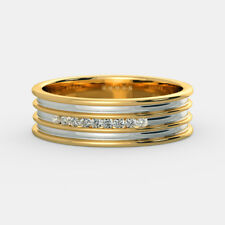 14K Yellow Gold Mens Ring 0.14 Carat Natural Diamond Engagement Band Size U V W