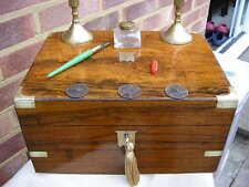 CLASSIC 1880 FIGURED WALNUT BRASS INLAY WRITING SLOPE BOX INK WELL CANDLE STICKS