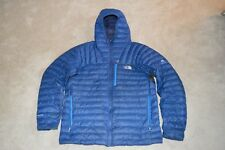 North Face azul cumbre serie 800 Pro cremallera abajo Acolchado Abrigo Chaqueta Con Capucha Xl