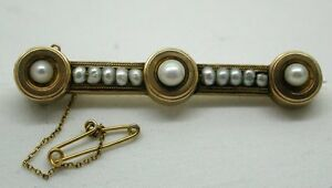 Lovely Victorian 18ct  Gold And Natural Pearl Bar Brooch