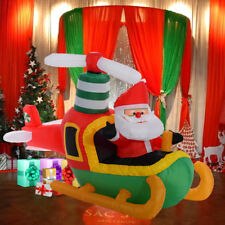 Giant Inflatable Christmas Decoration Santa Pilot A Plane With Light Outdoor