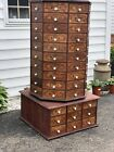Vintage Wooden Antique rotating octagon hardware store cabinet
