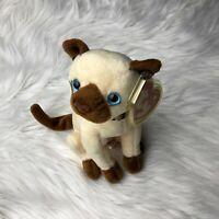 Siam 2000 TY Beanie Babies Sitting Blue Eyes Siamese Cat Plush Toy