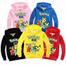 Kids Boys Girls Pokemon Long Sleeve Hoodie Pullover Sweatshirt Top Shirt Clothes