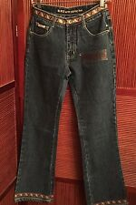RVT Jeans Co Braid Trim Womens 5/6 Denim Blue Fit and Flare New