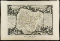 1852 - Ain - Landkarte Geografische Alte By Levasseur. Verwaltungsbezirk