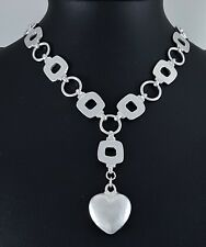 Impresionante mate moderno cuadrados y bucles de enlace de Plata del Encanto del Corazón Gargantilla Collar