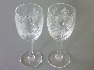 Royal Brierley Crystal - Cornflower - 2 Sherry Glasses - Signed