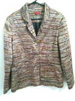 Joni B. Womens Size Large Colorful Multicolor 3 Button Blazer Jacket