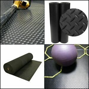 Diamond Plate Rubber Safety Mat 4 X 8 Ft Black Garage Flooring Roll 32 Sq Feet