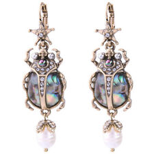 NEW Egyptian Scarab Beetle Insect & Skull McQueen Style Shell Pearl Earrings