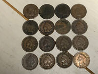 Indian Head Cent 1C Penny - Lot of 16 Coins (1883 - 1907)