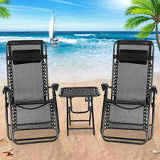 3PC Zero Gravity Folding Adjustable Patio Beach Lounge Chairs W/ Table Black