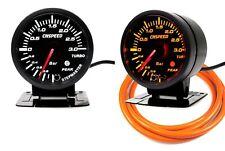 60mm Turbo Boost Gauge 3 Bar With Peak Warning White/Amber Light Orange Hose