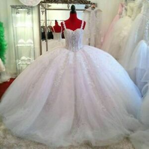 Luxury Wedding Dresses Beaded Sweetheart Appliques Bridal Ball Gowns Princess