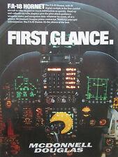 5/1986 PUB MCDONNELL DOUGLAS F/A-18 HORNET DIGITAL COCKPIT POIGNEE PILOTE AD