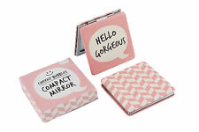 "Novelty Compact Mirror in Pink with ""Hello Gorgeous"" on Front"