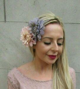 Apricot Peach Blush Birdcage Veil Flower Hair Fascinator Hat Races Wedding 6066