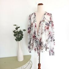 Witchery Top Blouse Size 14 White Floral Boho Romantic Tie Front Long Sleeve