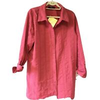 New Denim & Co Women's Size 1X Striped Shirt Band Collar QVC  Dark Coral
