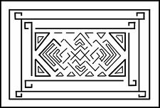 "Rug Hooking Pattern ""EL CAMINO LARGE""  on natural linen"