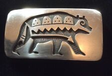 Vintage Sterling Hopi Belt Buckle By Stephen Hyson Naseyoma. Bear