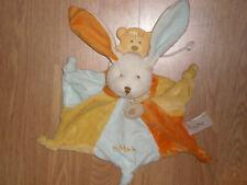Doudou Peluce Baby'nat Babynat lapin rabbit bunny lièvre étoile MMHH jaune bleu