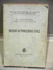 NOZIONI DI PROCEDURA CIVILE Michele Battista Stamperia Reale Roma 1933 Diritto