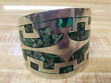 VINTAGE STERLING SILVER .925 TAXCO MOSAIC CHIP INLAY TURQUOISE CUFF BRACELET