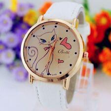 Mens Womens Cat Design Cute Gift Wrist Watch Fashion Pink Black White