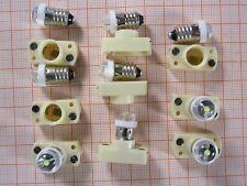 9x LED-Lampe sehr hell weiß Sockel Schraubgewinde E10 40Lm 4,5V 0,08A + Fassung