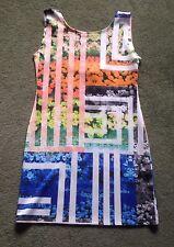 JUST LOVE Womens Size Large Sleeveless Floral/Striped Tank Sheath Dress