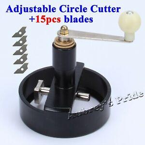 Adjust Round Rotary Circle Graphic Paper Cutter Sharp Button Maker +15 Blades