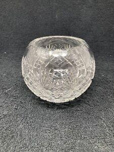 Crystal Pattern Glass Rose Bowl