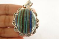 Blue Rainbow Calsilica Calcite Ornate Solitaire 925 Sterling Silver Pendant