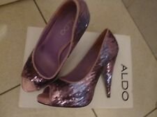 ALDO Pink/Purple Sequin Heeled Peep-Toe Shoes Size 37 with box