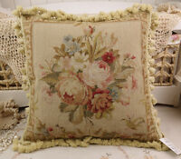 "18"" Vintage Chic Shabby Floral House Sofa Chair Decorative Needlepoint Pillow"