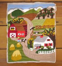 Vintage Kitsch Hand Stitched Wool Crewel Embroidered Farm Barn Countryside Scene