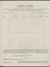 1908 New Haven Polo Club (Horse Exhibition) NrMt Entry Form for Competition
