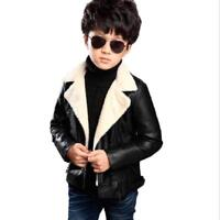 Leather Jacket  Autumn Winter Fur For Children Solid Casual Warm Outerwear Coats