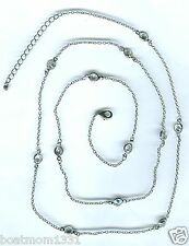 """Bezel Station Hsep Necklace ~ Wow Gift! Clear Cubic Zirconia By the Inch 36"""""""