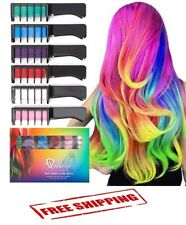 Hair Chalk Comb Temporary Rainbow Color Non Toxic 6 Pcs Hair Coloring Dye New