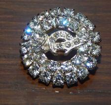 Vintage Clear Rhinestone Shriners Brooch Silver Tone Rhinestone Masonic Brooch