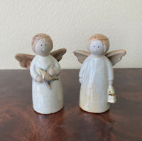 """2 Ceramic Angels Pair of Figurines 4.75"""" Tall White Tan Wings Halo VINTAGE EUC"""