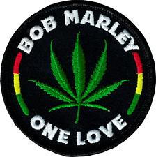 16023 Bob Marley One Love Rastafari Reggae Marijuana Sew Iron on Patch Badge