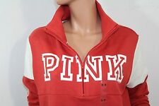 Pink By Victoria's Secret NEW Fleece High & Low Half Zip Sweater NWT Medium Red