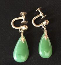 Vintage Jade 1/20 12K Gold Filled Teardrop Dangle Drop Earrings frenchscrew back