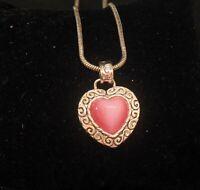 "Designer ROMAN Signed Pink Heart Gold Tone Pendant 16"" Swirl Detail Vintage"