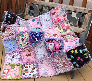 Rag quilt I Love Cats throw all flannel  handmade USA 204